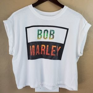 Bob Marley Rolled Sleeve Cropped Graphic Tee